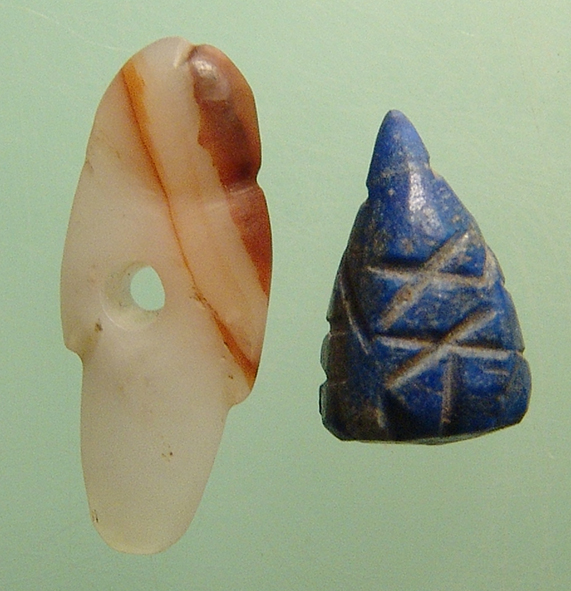 Pair of interesting ancient amulets, semi-precious stone