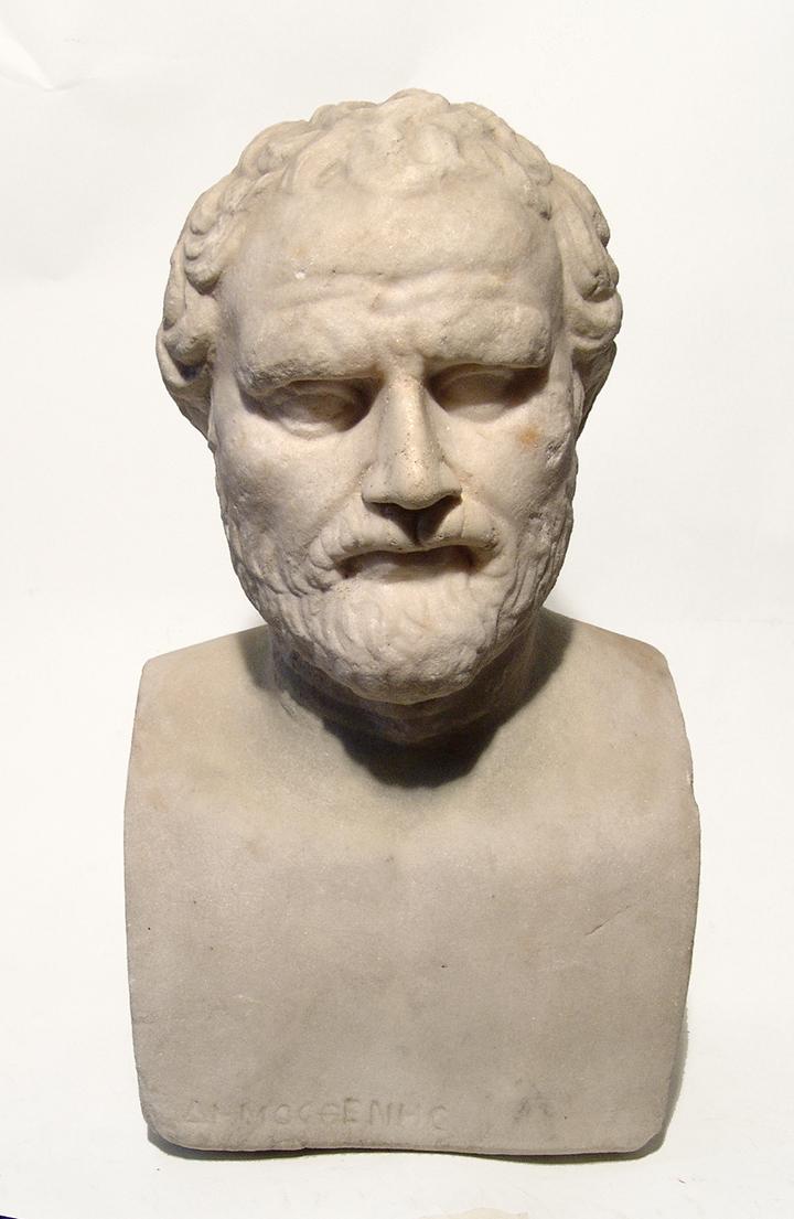 Roman marble bust of the Greek Philosopher Demosthenes