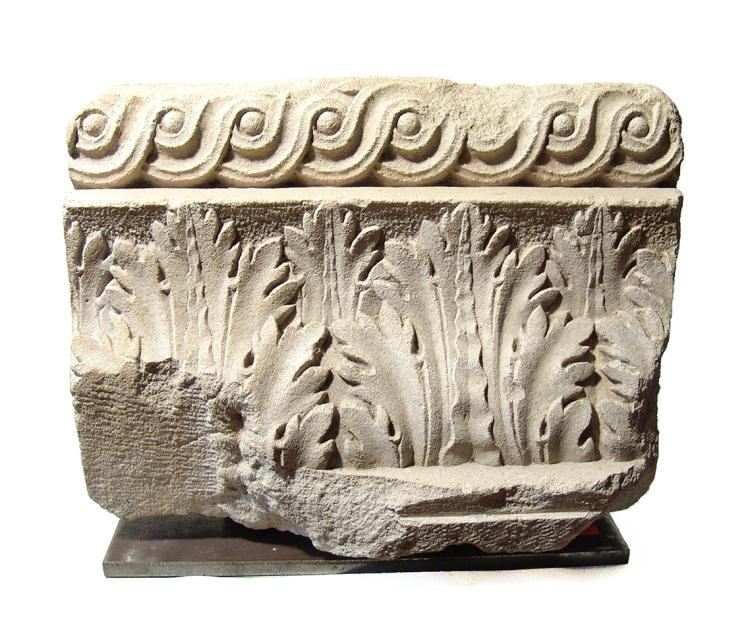 Roman limestone architectural fragment with acanthus motif