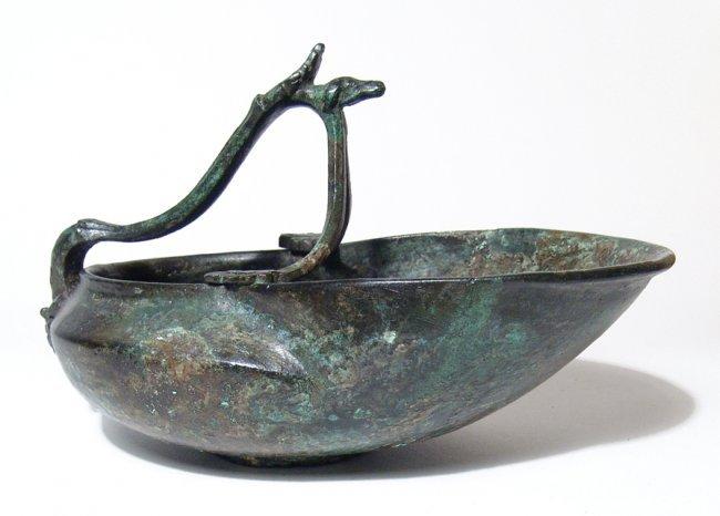 A beautiful Roman bronze serving vessel