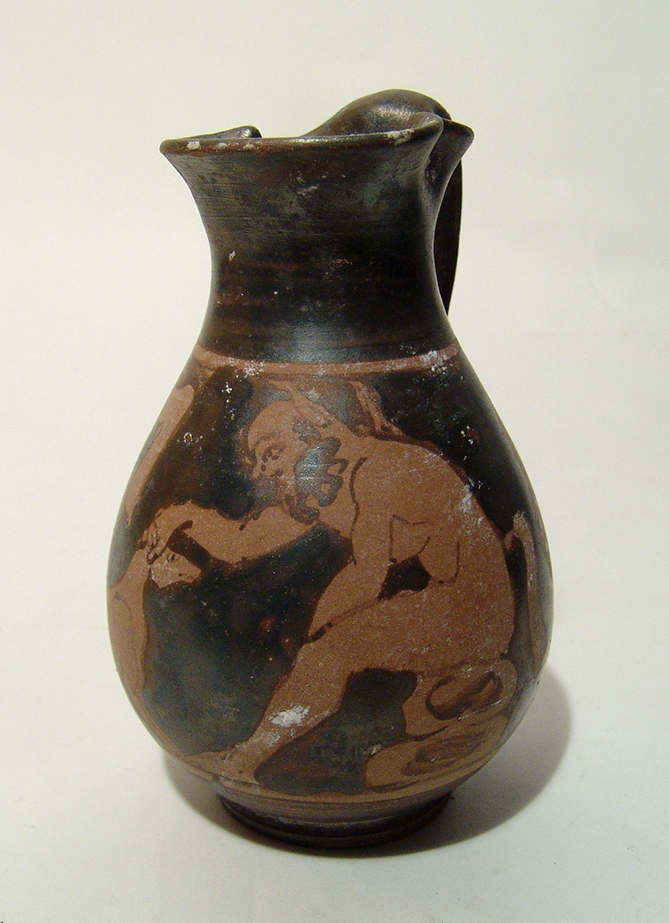 Greek red-figure olpe depicting a satyr petting a hound