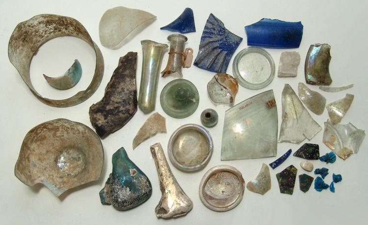 Nice study collection of Roman glass fragments