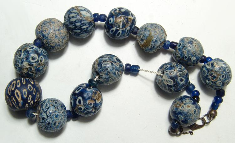 Strand of 12 Indonesian blue glass Jatim beads