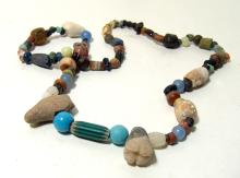 A mixed stone and glass bead necklace