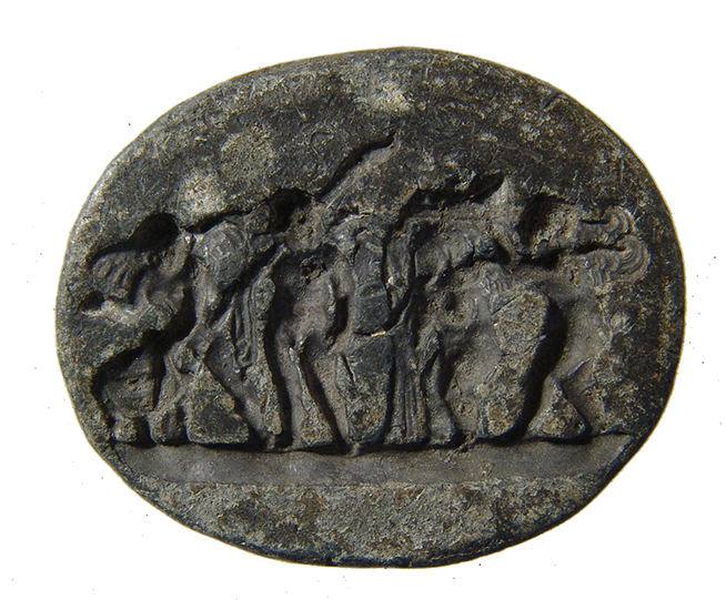 Roman oval lead seal depicting wonderful cherubic scene