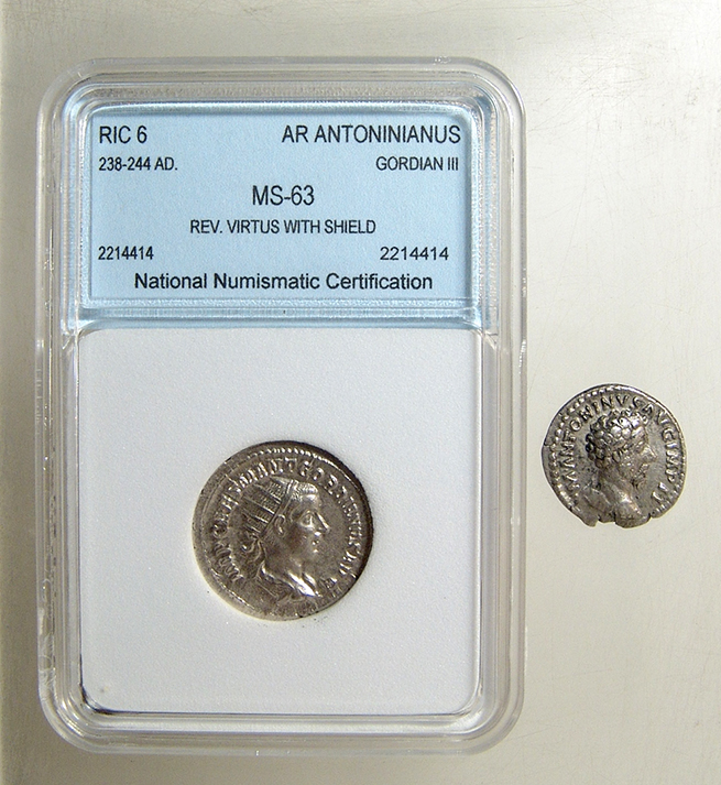 A pair of Roman silver coins