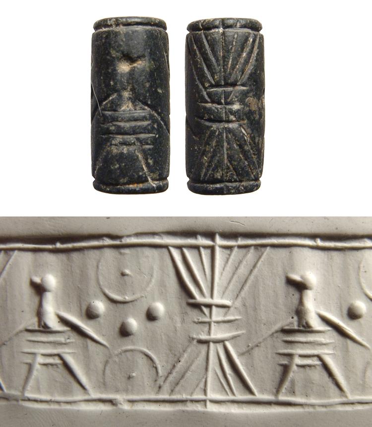 Black serpentine cylinder seal, Jemdat Nasr style
