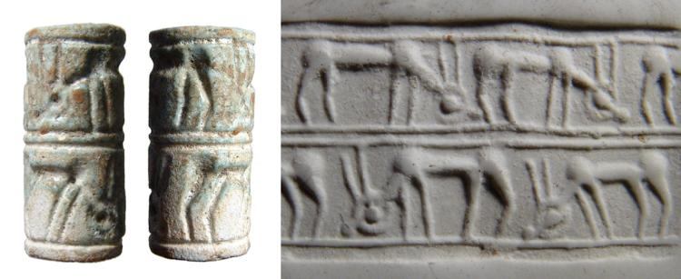 Beautiful Mitanni glazed composition cylinder seal