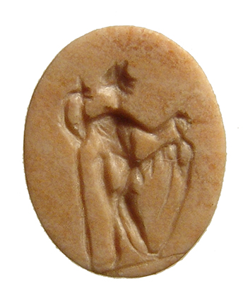 Roman pink marble ring stone with standing woman