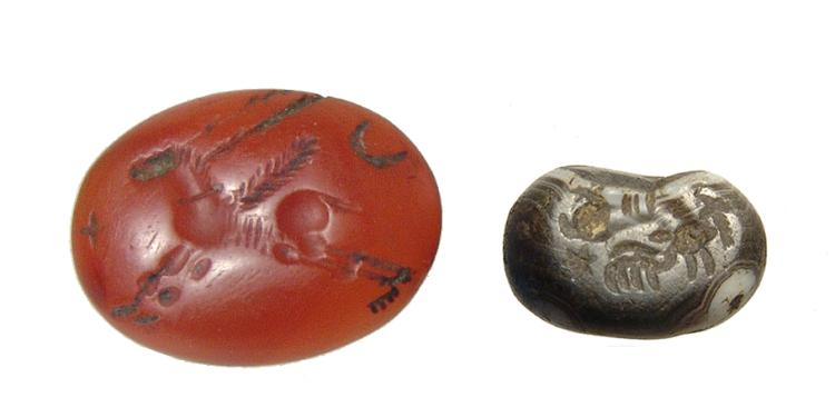 A Sasanian stamp seal and ring stone