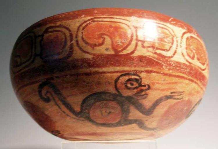 Large Maya polychrome bowl from El Salvador