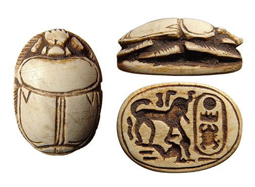 A beautifully carved Egyptian steatite scarab