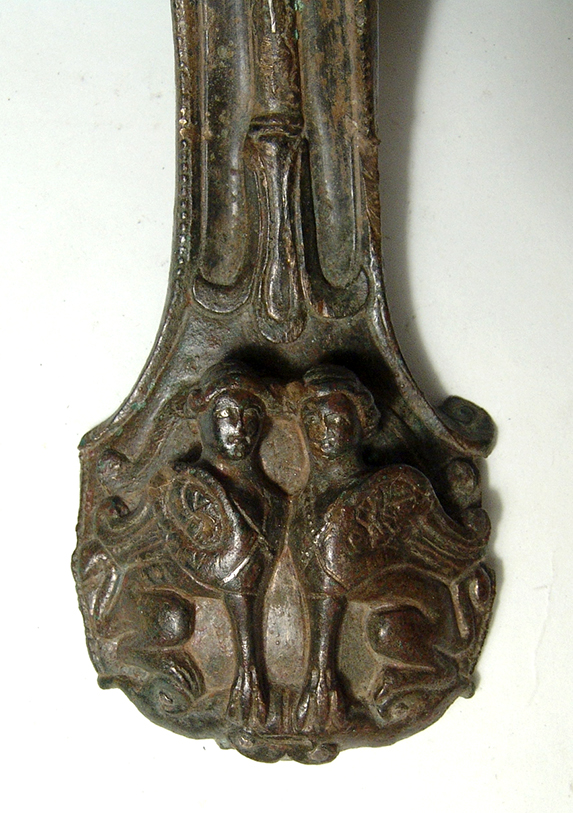 Roman silver bronze handle from large serving vessel
