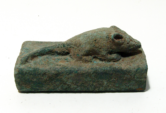 An Egyptian bronze sarcophagus for a shrew