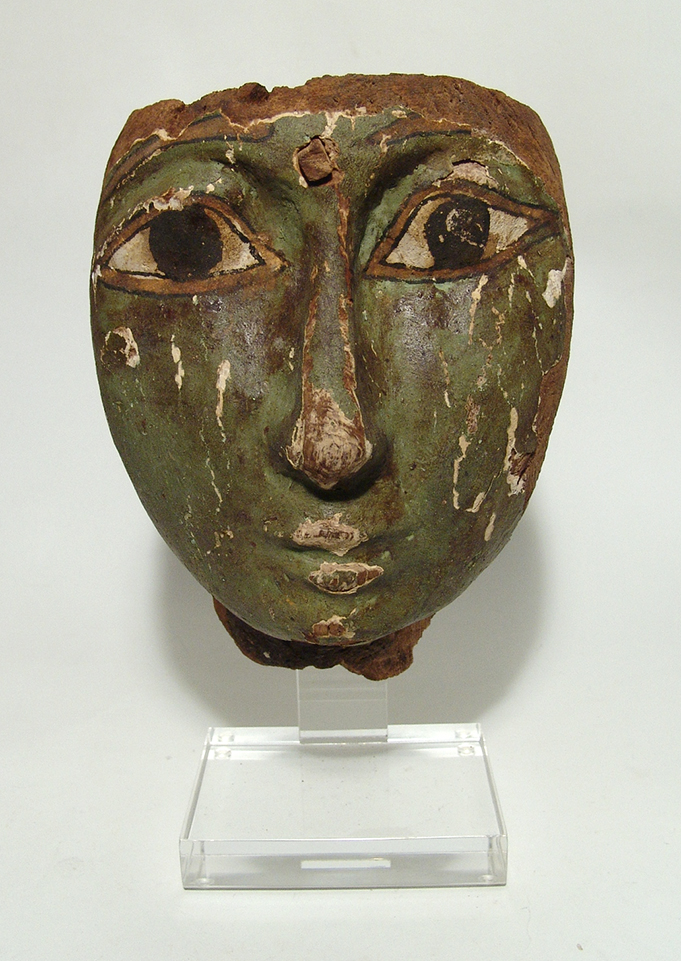 Egyptian painted wooden 'mummy' mask