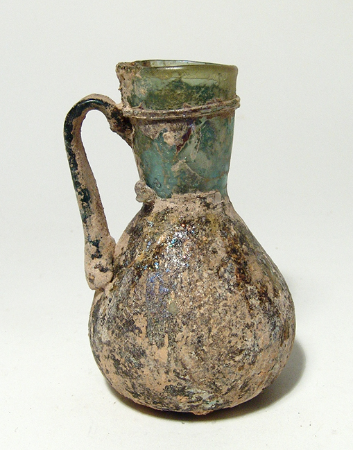 Nice Roman blue-green single-handled flask