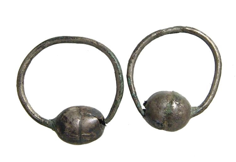 A pair of Roman silver earrings