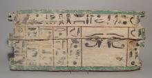 Large Egyptian wood panel with a pair of facing eyes