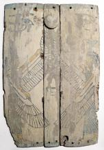 Set of Egyptian wood panels depicting Isis and Nephthys