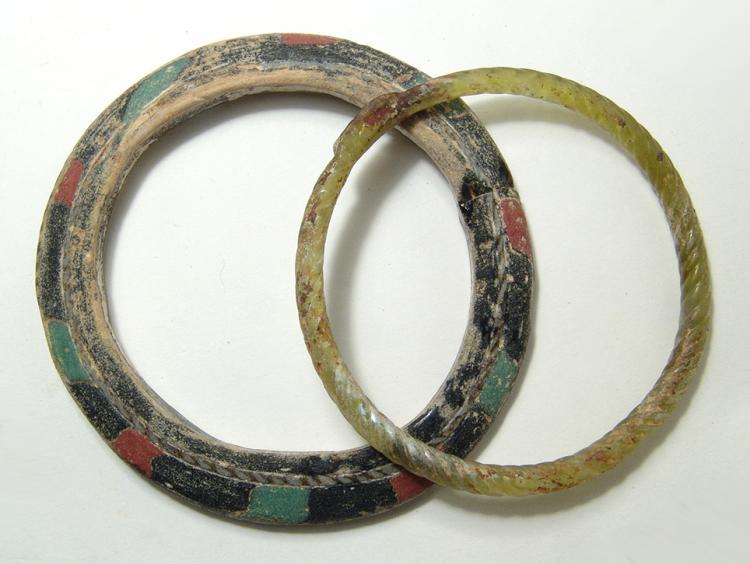 A pair of Roman glass bracelets