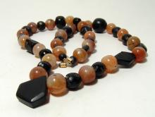 Parthian carnelian and steatite bead necklace