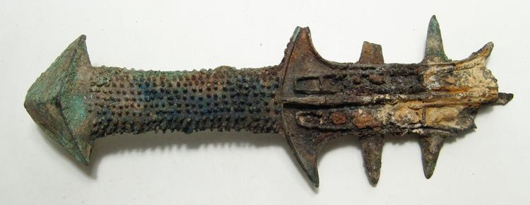 Intricate Chinese bronze sword hilt, Western Han