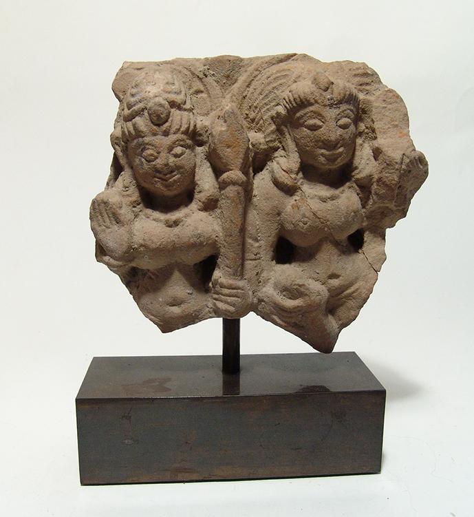Indian sandstone relief depicting pair of female deities