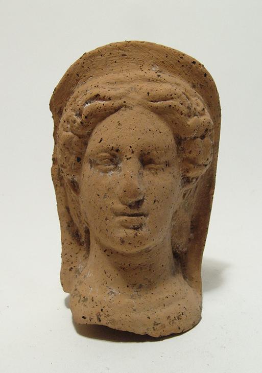 A nice Etruscan terracotta votive veiled female head