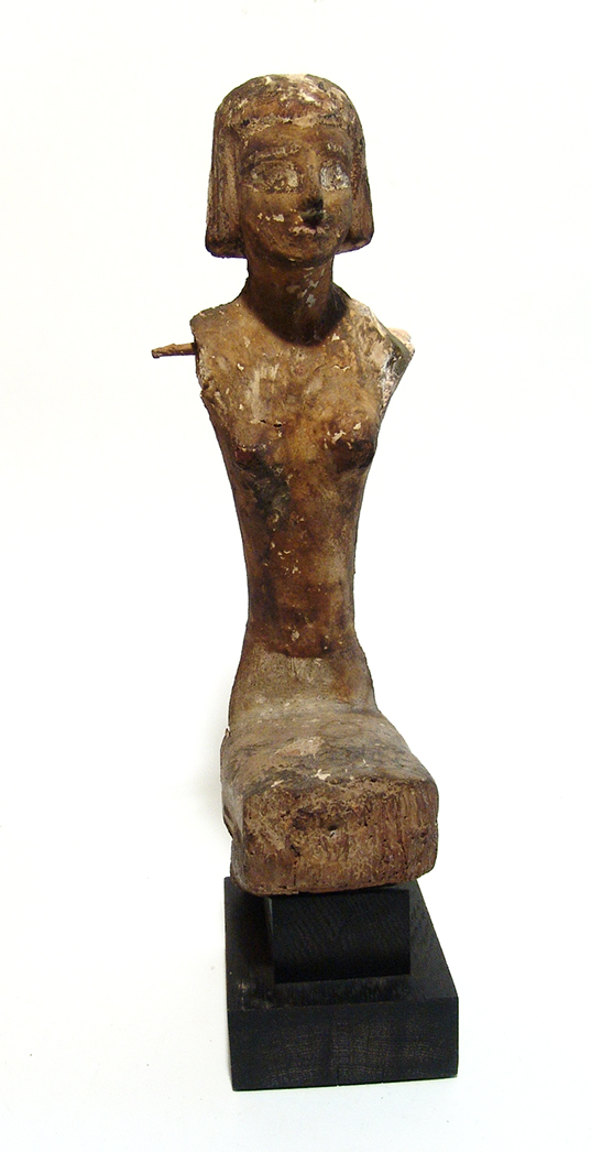 Large Egyptian seated wood figure, Late Period