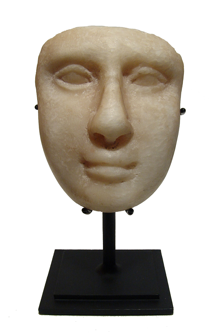 A Greek marble face, likely of a goddess