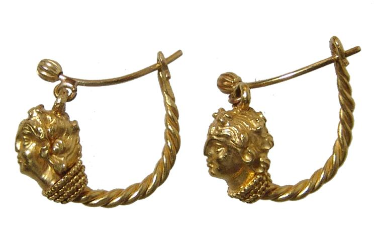 A stunning pair of Hellenistic gold earrings