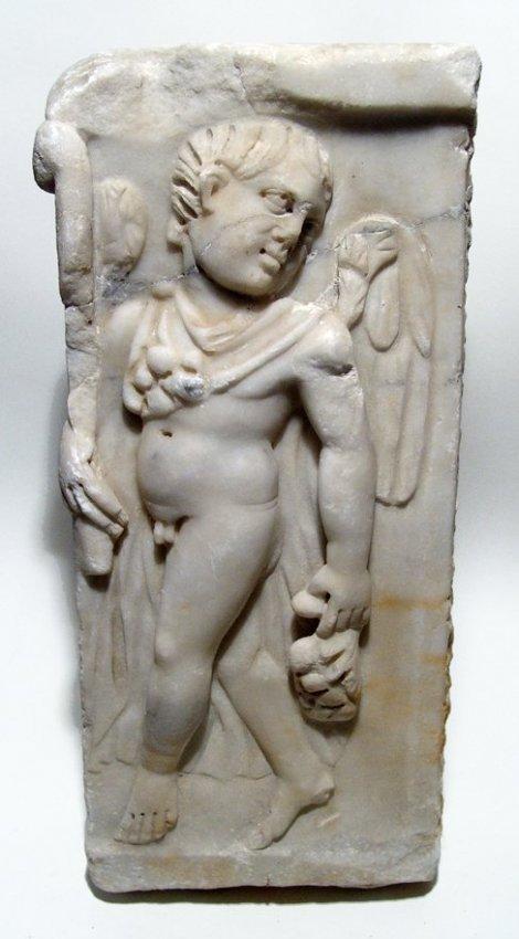 Provincial Roman marble frieze depicting a nude Eros