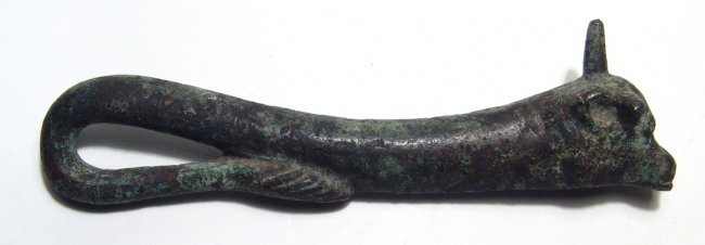 A Near Eastern bronze handle in form of a bull