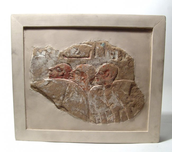 A lovely painted limestone relief, New Kingdom