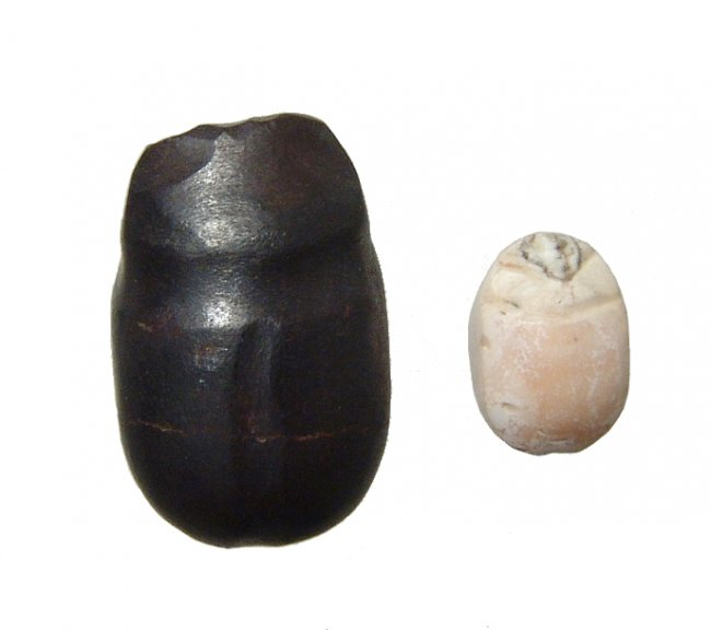 A pair of Levantine stone scarabs