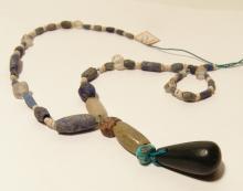 Attractive ancient lapis and quartz necklace