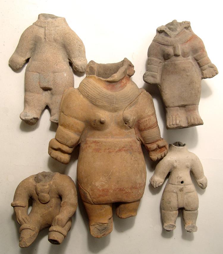 5 Jamacoaque and La Tolita-Tumaco ceramic torsos