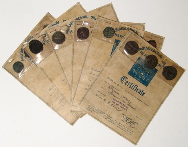 Lot of 12 ancient bronze coins with certificates
