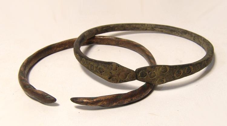 A pair of Western Asiatic bronze bracelets