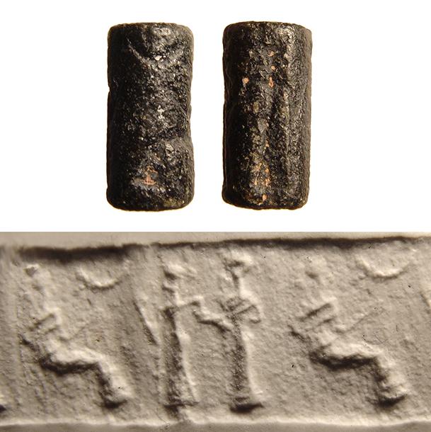 A Neo-Sumerian black serpentine cylinder seal