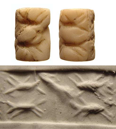 Sumerian shell cylinder seal, Jemdat Nasr