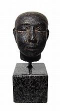 Egyptian dark granite head of a man