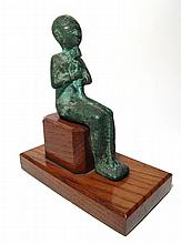 Egyptian bronze seated figure of Ptah