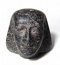 Egyptian carved granite head from an ushabti