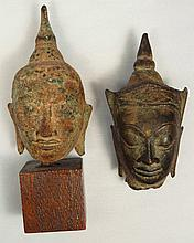 Lot of 2 bronze Buddha heads, Thailand
