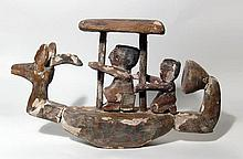 Egyptian funerary model boat with two crewmen