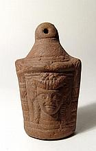 Egyptian terracotta votive shrine with head of Hathor