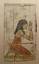A painted linen panel depicting a mourner
