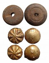 4 gilded wood rosettes and 2 Spindle Whorls