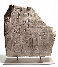 A large Egyptian limestone relief, Late New Kingdom